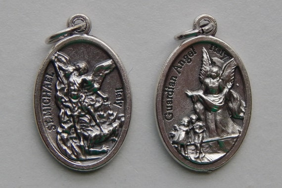 5 Patron Saint Medal Finding - St. Michael, Guardian Angel, Die Cast Silverplate, Silver Color, Oxidized Metal, Italy Made, Charm, RM606