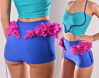 High Waisted Fringe Bloom Panties - Royal Blue and Violet - Cotton Jersey Adorned Undies - Full Bottom Flower Undies - Sexy Knickers