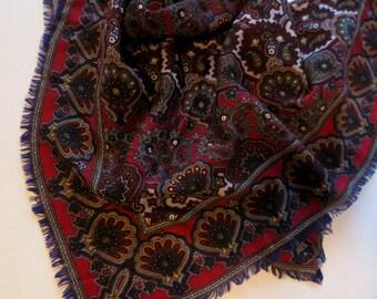 Large Wool Scarf Paisley red fringe Neiman-Marcus