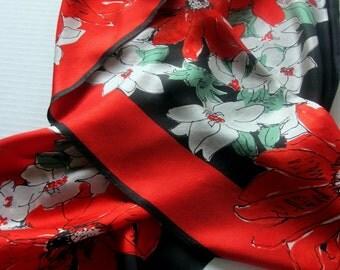 Red Silk Scarf Vera Silk poincettia flowers vintage long
