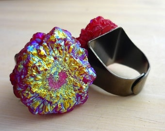 Large red solar quartz statement ring. #makeforgood