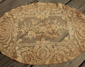 Antique Normandy Lace Doily Pillow Case Style Lace Netting Trim Oval