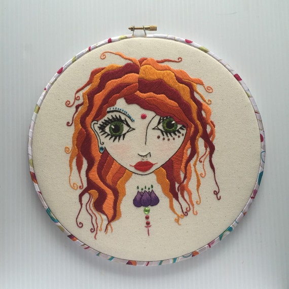 Hair on Fire Hand Embroidered Hoop Art
