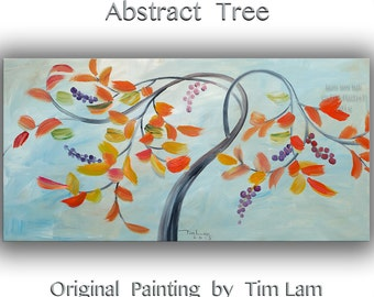 Abstract Tree, Contemporary Huge Decorative original Modern art decor Fancy Blossom by Tim Lam 48x24