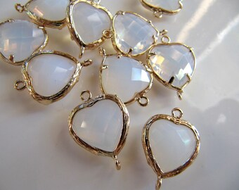 Glass Link Connector Heart Charms Pendants, Gold Tone Brass with Opal White Smoke Gem, 19mm x 14mm, 2 Pieces, Clear Double Sided