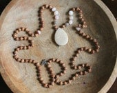Sandalwood, Peruvian Opal And Labradorite 108 Mala With Fossilised Coral  OOAK