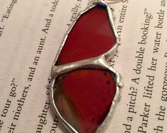 Real Butterfly jewelry, butterfly Wing Necklace, The red glider butterfly Pendant