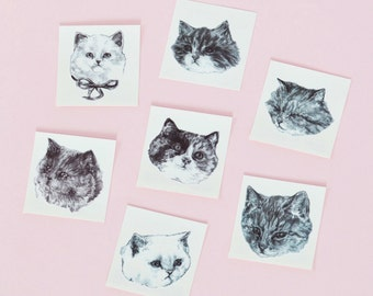 "Temporary ""Cat Tatts"" Tattoos - pack of SEVEN cool fake cat tatts quick cattoos waterproof non toxic tats for kids Grumpy kitty festival fun"