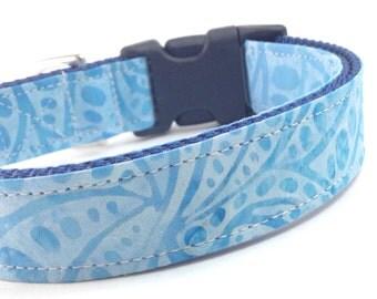 Custom Dog Collar - Lifht Blue Waves - Teal Sapphire Batik Dog Collar - Dot Batik Collar - Primal Dog Collar