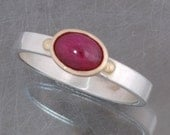 50% off!   Cabochon ruby ring in sterling silver and 14 karat yellow gold