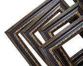RESERVED Picture Frame Set Shabby Chic Picture Frames Ornate Picture Frames Black and Gold Home Decor Wedding Frames Black Picture Frames
