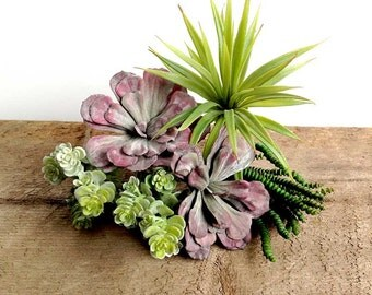 Succulent plants, faux succulent collection, succulent cutting, artificial succulent, yucca, haworthia, hens and chicks, lavender, pink