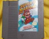 Super Mario 2 Nintendo video game cartridge NES 80's Vintage
