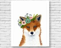 Watercolor fox, Woodland Nursery Art, Animal Paintings, Fox, Bear, Deer, Animal Wall Art, Childrens Wall Decor, Kids poster, fox painting
