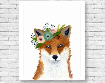 Watercolor fox, Woodland Nursery Art, Animal Paintings, Fox, Bear, Deer, Animal Wall Art, Childrens Wall Decor, Kids poster, fox painting