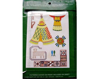Vogart Native American Indian Motif Uncut Repeat Transfer Pattern/Embroidery Pattern/First Nations Pattern/Aboriginal Tribal Pattern/
