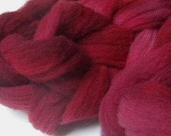 """Babydoll Southdown Wool Fiber Roving for Spinning or Needle Felting 4 Ounce Braid Combed Top Red  """" Cranberry  """""""