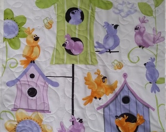 Crib Quilt, Lavender and Green Baby Quilt, World of Susybee, Nursery Bedding, Baby Blanket,  Quiltsy Handmade