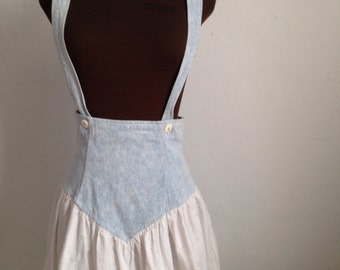 Denim and Eyelet Skirt-alls