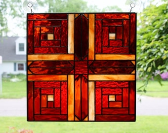 Stained Glass Window Panel Star Log Cabin Quilt Block
