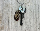 Vintage Key Necklace With Vintage Mother of Pearl Button Black and White Charm and Pheasant Feather