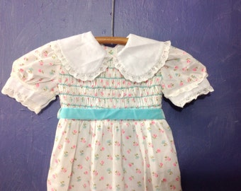 Polly Flinders, Smocked Dress, Stranger Things, Child's Dress, Cosplay, Halloween, Costume, Vintage Girls Dress