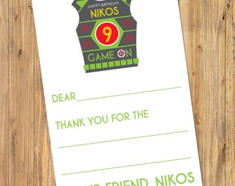 Printable Laser Tag Birthday Party Fill In Thank You Notes