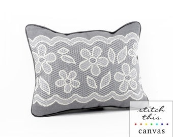 gray and white lace needlepoint canvas - diy - contemporary - modern