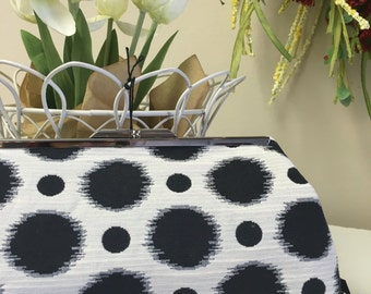 Ready To Ship Polka Dots Cream and Black Clutch