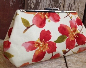 Bridesmaid Clutch Coral Flowers