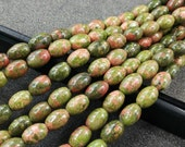 Pink Green Unakite Oval Rice Natural Stone rice Beads 6x9mm -44pcs/Str