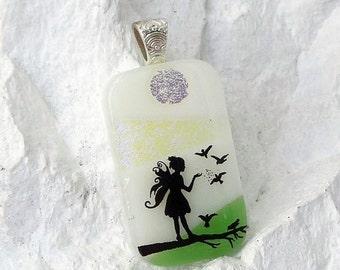 Labor Day Sale Fairy Feeding Birds Scenic Art Handmade Glass Jewelry, Fused Glass Pendant Necklace E184