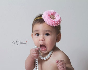 Pink and gold headband, pink and gold first birthday, pink and gold outfit, pink headband, gold baby headband, pink gold headband,