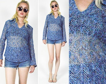 90's BLUE CROCHET Patterned Chunky KNIT Crop Sweater. Long Sheer Sleeves. 1990's Grunge Mod Sweater. Neon Green. Size S/M