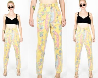 80's 90's PASTEL YELLOW FLORAL Paisley High Waist Jeans. Crop Leg/Size/S  1990's Grunge Floral Pants. Size S-Yellow, Pink, Blue Flower print