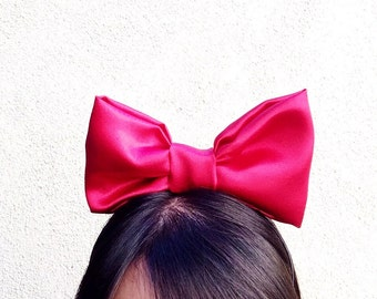 Snow White Red Satin Bow Headband