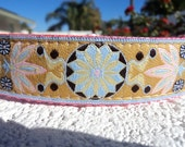 """Sale Dog Collar Quick Release Gold Zinnia Quick Release 1"""" wide adjustable - choose webbing color"""