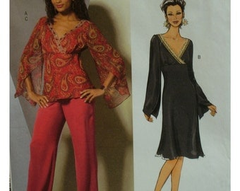 Wrapped Top and Dress Pattern, Lined, V-Neck, Flowing Sleeves, Bias Cut Skirt, Empire Waist, Pants, Butterick No. 4851 UNCUT Size 16 18 20