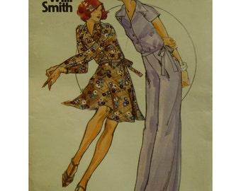 "Willi Smith Two-Piece Dress Pattern,  Flared Wrap Skirt, Raglan Sleeved Shirt, Wide Leg Pants, 1970s Butterick No. 3855 Size 12 (Bust 34"")"