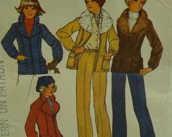 70s Aviator Jacket Pattern, Detachable Collar, Zipper Front. Patch Pockets, Gathered Cuffs, Simplicity No. 7193 UNCUT Size 14, 16