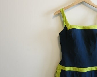 Swim suit bathing suit 1960s vintage rockabilly navy blue lime green L XL