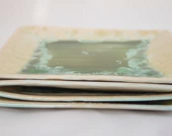 Square Ceramic Lunch Plates - Rutile Crystalline