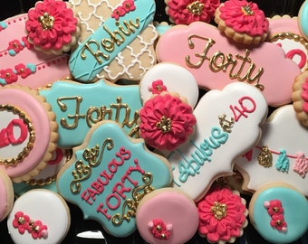 Fabulous 40th Birthday Sugar Cookie Collection