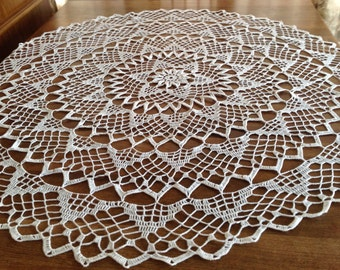 Sunrise, Doily, Tablecloth, Crochet, White, Flower, Centerpiece,
