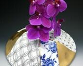 Big Bud Vase, hand painted porcelain, traditional pattern, gold luster, vintage decal