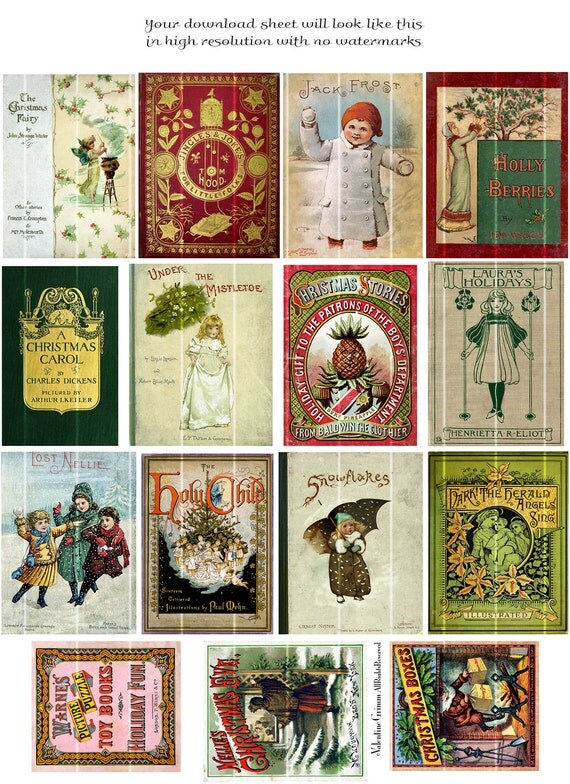 Christmas Card Book Cover Printable ~ Victorian christmas book covers no digital printable