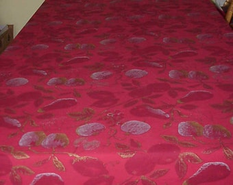 Vintage Large Wine Red Tablecloth 82 Inch Long Rectangle