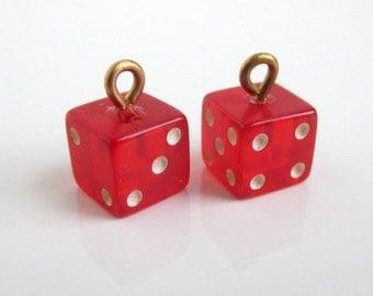 2 Red Bakelite Miniature Dice Charms - Vintage