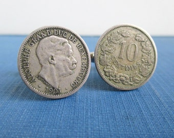 Luxembourg Coin Cuff Links - Antique 1901 Repurposed Coins