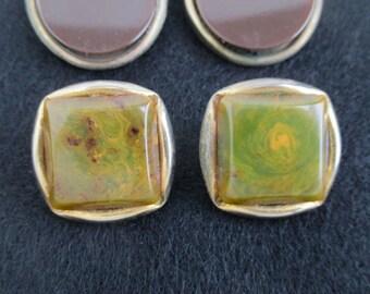 2 Pairs Bakelite Earrings - Vintage Very Worn, Marbled Green & Brown